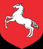Herb Konina, biały koń na czerwonym tle
