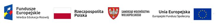 Obraz przedstawia logotypy: Funduszy Europejskich, Rzeczpospolitej Polski, Samorządu Województwa Wielkopolskiego oraz Unii Europejskiej