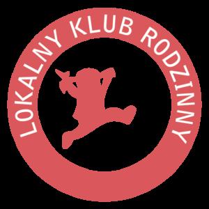 logo Lokalnego Klubu Rodzinnego. Czerwona dziewczynka na małym tle, w kolistym obramowaniu napis Lokalne Kluby Rodzinne
