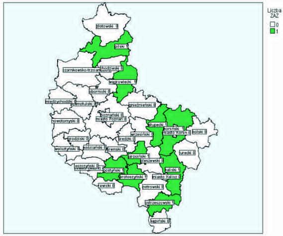 Mapa Zakładów Aktywności Zawodowej w Wielkopolsce przedstawia administracyjny podziała Wielkopolski na poszczególne powiaty – plik w formacie jpg