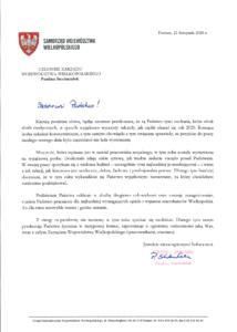 Grafika przedstawia list Pani Marszałek Pauliny Stochniałek do kadry socjalnej z okazji Dnia Pracownika Socjalnego 2020 - plik PNG 401 KB