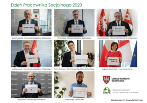 Grafika przedstawia zdjęcie z życzeniami władz samorządowych do kadry socjalnej z okazji Dnia Pracownika Socjalnego 2020 - plik PNG 2 MB
