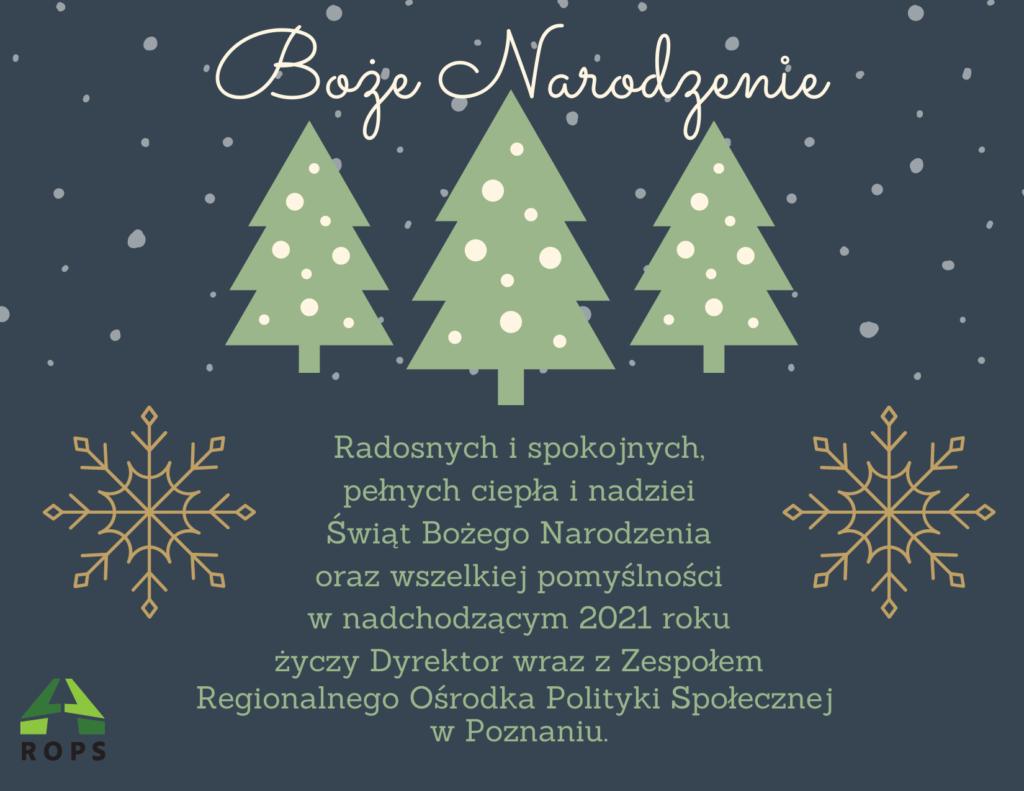 Grafika przedstawia kartkę elektroniczną z życzeniami z okazji Bożego Narodzenia 2020. Na ciemnym tle widoczne na środku trzy choinki, na które i wokół których pada śnieg. Nad choinkami widnieje napis: