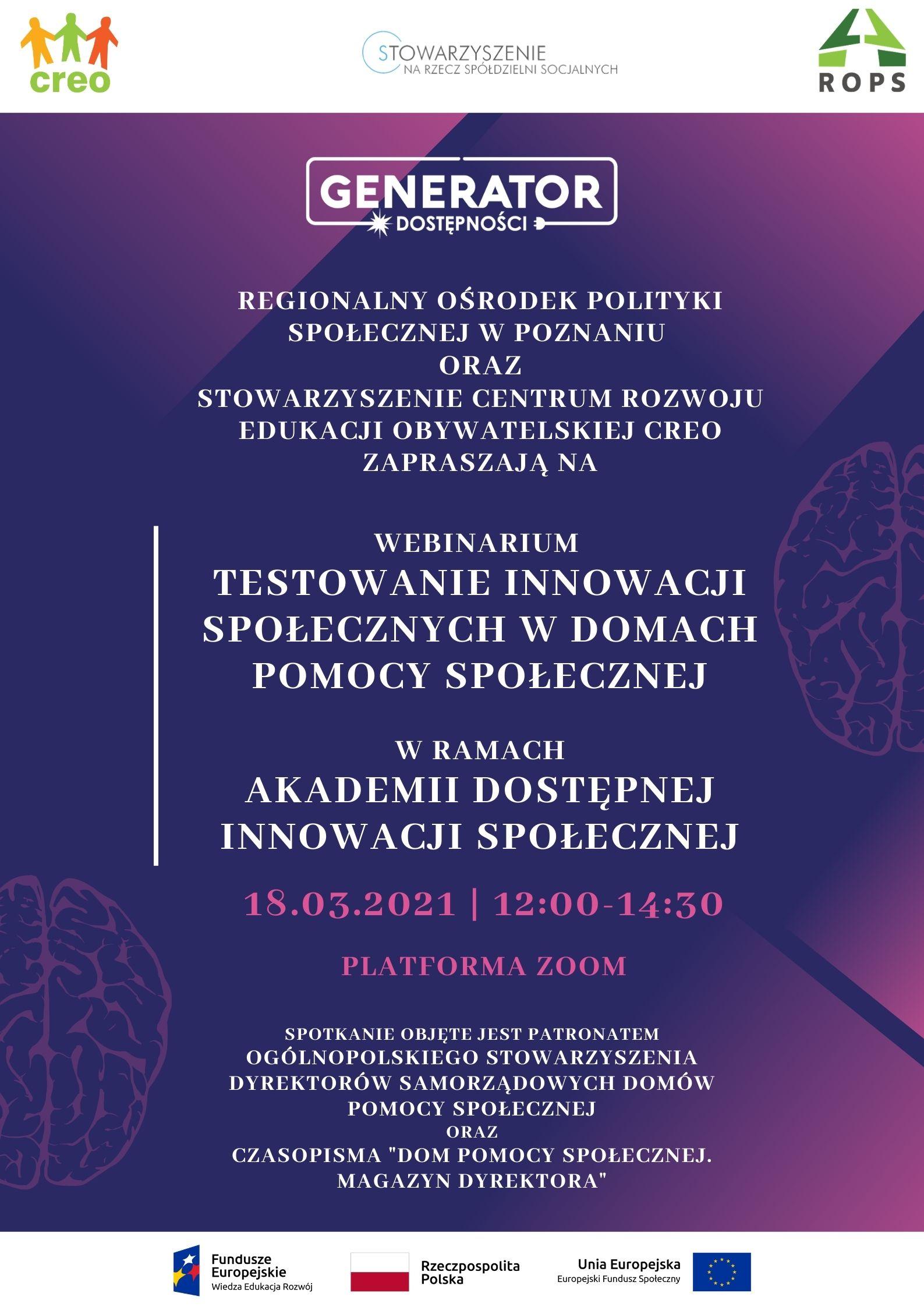 Grafika przedstawia plakat w kolorze fioletowym zapraszający na webinar dotyczący tworzenia i testowania innowacji w Domach Pomocy Społecznej.