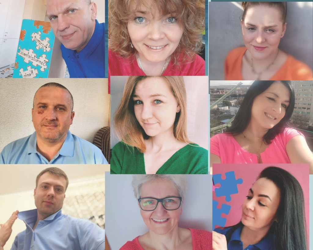 Kolaż. 9 zdjęć, na których widnieją wizerunki trenerów pracujących w mieszkaniu wspomaganym Azymut Samodzielność.