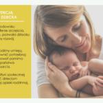Grafika. Po lewej stronie treść na temat Konwencji Praw Dziecka ONZ. Po prawej stronie zdjęcie kobiety, która trzyma dziecko.