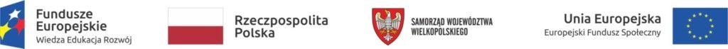 Logotypy: Fundusze Europejskie, Rzeczpospolita Polska, Samorząd Województwa Wielkopolskiego, Unia Europejska